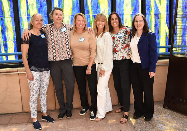 Six women from the first-ever National Team in 1985: Ann Orrison-Germain, Ruth Harker, Kim Wyant, Linda Gancitano, Emily and Denise Boyer-Merdich